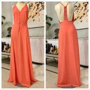Jarlo T-back coral pink maxi dress medium
